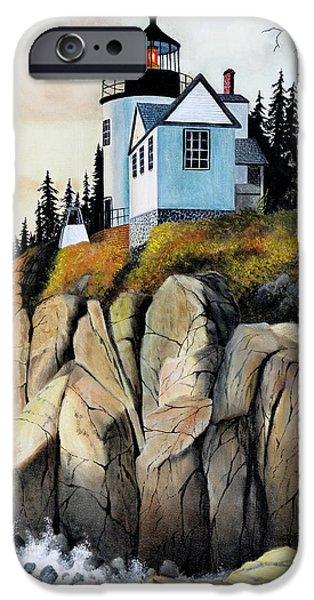Maine Landscapes Paintings iPhone Cases - Bass Light iPhone Case by Don Griffiths