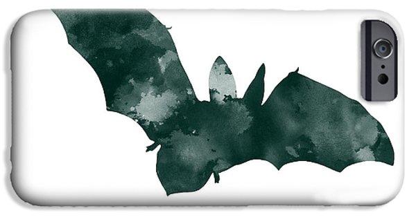 Bat iPhone 6 Case - Bat Minimalist Watercolor Painting For Sale by Joanna Szmerdt