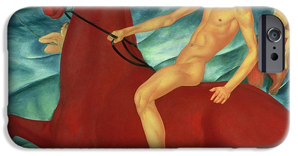 The Horse iPhone Cases - Bathing of the Red Horse iPhone Case by Kuzma Sergeevich Petrov-Vodkin
