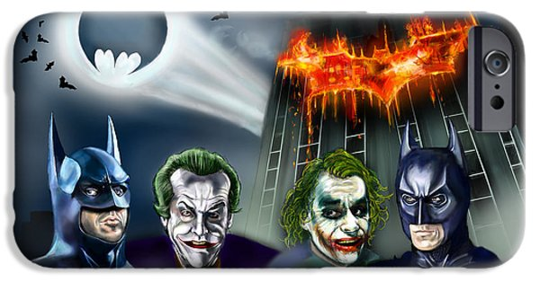 Bales iPhone Cases - Batman 89 vs The Dark Knight 08 iPhone Case by Vinny John Usuriello