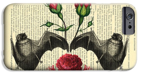 Bat iPhone 6 Case - Bats With Angelic Roses by Madame Memento