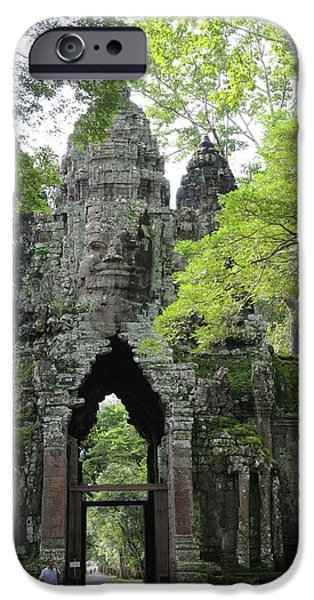 Ruin iPhone Cases - Bayon Gate iPhone Case by Marion Galt