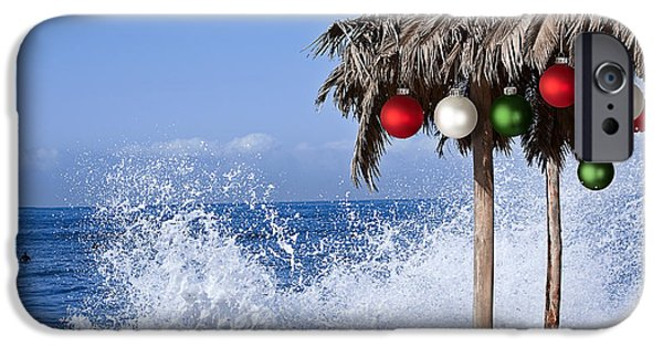 Abstract Seascape iPhone Cases - Beach Palapa Decorated For Christmas Red White And Green Ormanaments iPhone Case by Susan McKenzie