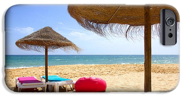 Umbrella Photographs iPhone Cases - Beach Relaxing iPhone Case by Carlos Caetano