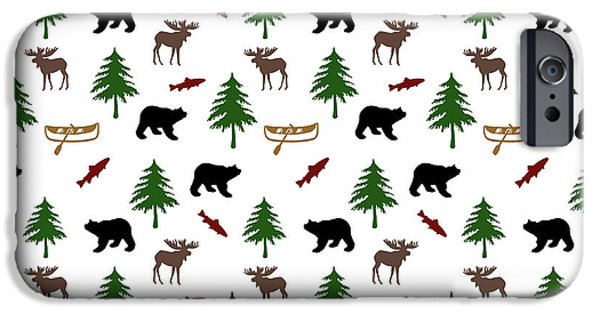 IPhone 6 Case featuring the mixed media Bear Moose Pattern by Christina Rollo