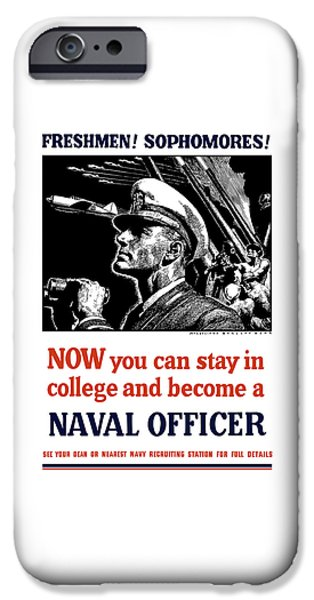 Officers iPhone Cases - Become A Naval Officer iPhone Case by War Is Hell Store