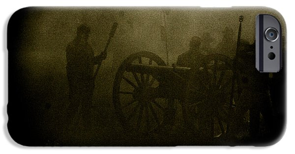 Civil War Re-enactment iPhone Cases - Behind the Smoke iPhone Case by Kim Henderson