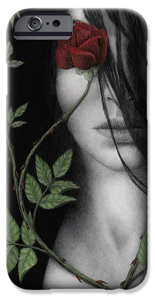 Red Rose iPhone 6 Case - Behind What Beholds The Eye by Pat Erickson
