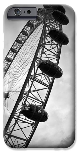 Cities Photographs iPhone Cases - Below Londons Eye BW iPhone Case by Kamil Swiatek