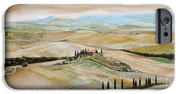 Agricultural Paintings iPhone Cases - Belvedere - Tuscany iPhone Case by Trevor Neal