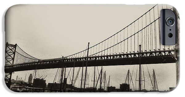 Franklin iPhone Cases - Ben Franklin Bridge from the Marina in Black and White. iPhone Case by Bill Cannon