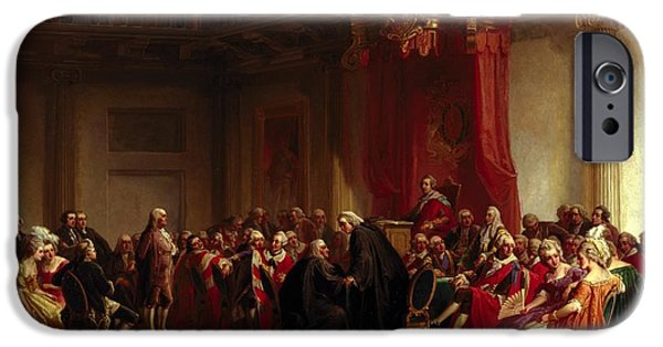 Humiliation iPhone Cases - Benjamin Franklin Appearing before the Privy Council  iPhone Case by Christian Schussele