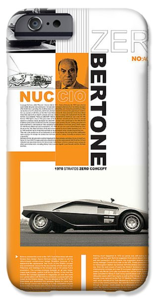 Racing iPhone Cases - Bertone Poster iPhone Case by Naxart Studio