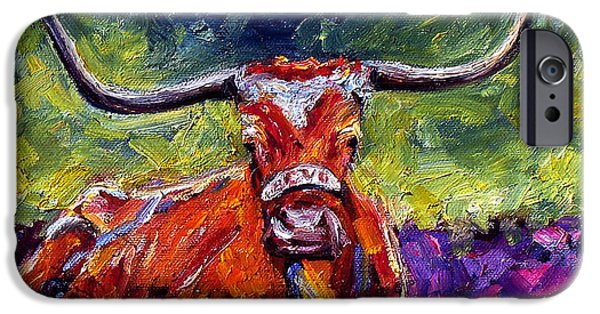 Texas Longhorn iPhone Cases - Bevo iPhone Case by Debra Hurd