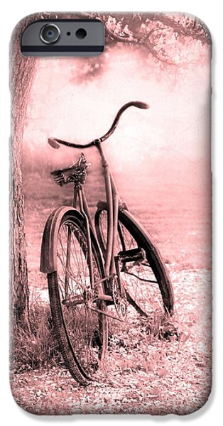 Old Trees iPhone Cases - Bicycle in Pink iPhone Case by Sophie Vigneault