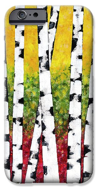 IPhone 6 Case featuring the mixed media Birch Forest Trees by Christina Rollo
