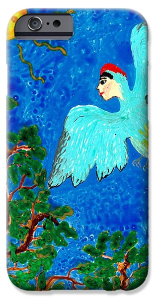 Illustrations Ceramics iPhone Cases - Bird people Green woodpecker iPhone Case by Sushila Burgess