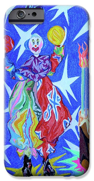 Outer Space Pastels iPhone Cases - Birthday Clown iPhone Case by Robert  SORENSEN