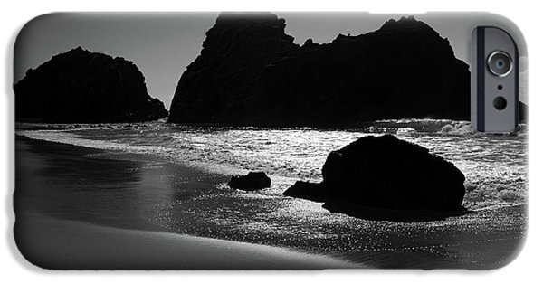 Pfeiffer Beach iPhone Cases - Black and white Big Sur landscape iPhone Case by Pierre Leclerc Photography