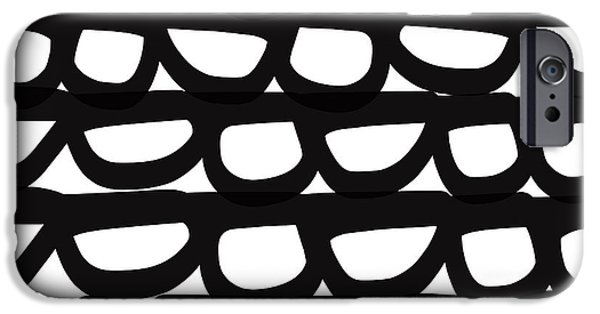 Contemporary iPhone 6 Case - Black And White Pebbles- Art By Linda Woods by Linda Woods