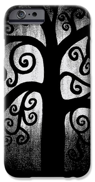 Light And Dark  iPhone Cases - Black and White Tree iPhone Case by Angelina Vick