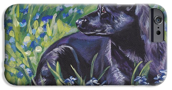 Black Dog iPhone Cases - Black Australian Kelpie iPhone Case by Lee Ann Shepard