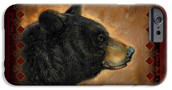 Cabin iPhone Cases - Black Bear Lodge iPhone Case by JQ Licensing