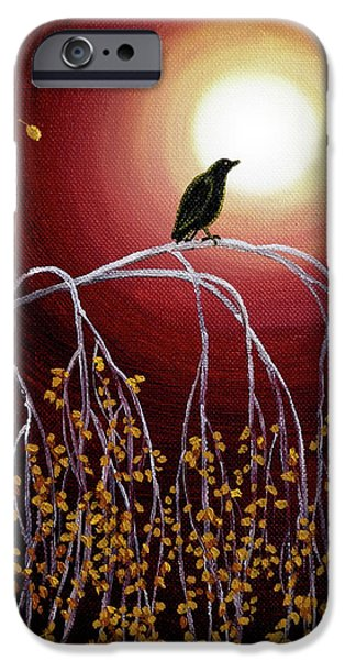 Crows iPhone Cases - Black Crow on White Birch Branches iPhone Case by Laura Iverson