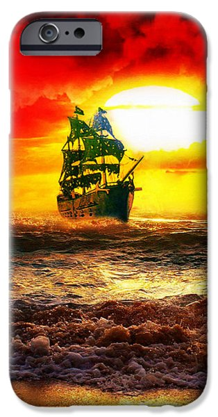 Recently Sold -  - Pirate Ships iPhone Cases - Black Pearl iPhone Case by Koko Priyanto