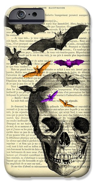 Bat iPhone 6 Case - Black Skull And Bats On A Dictionary Page by Madame Memento