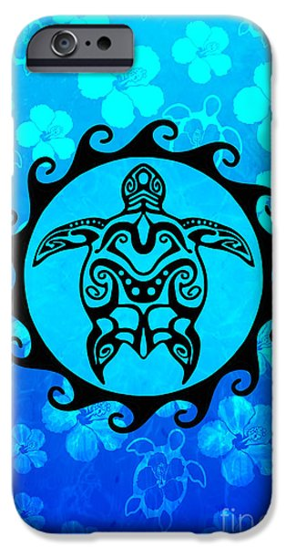 9a0e4375862b4 Polynesian Tattoo iPhone 6 Case - Black Tribal Turtle And Hibiscus Pattern  by Chris MacDonald