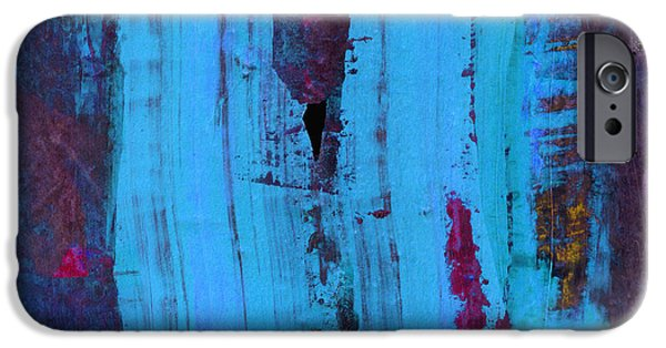 Ann Powell iPhone Cases - Blue Abstract iPhone Case by Ann Powell