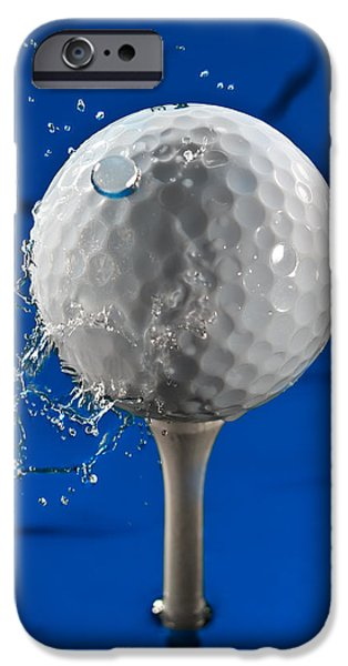 Golf Green iPhone Cases - Blue Golf Ball Splash iPhone Case by Steve Gadomski