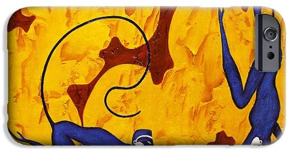 Bogdanoff iPhone 6 Case - Blue Monkeys No. 45 by Steve Bogdanoff