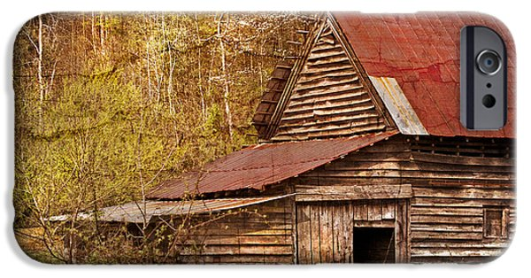 Smokey Mountains iPhone Cases - Blue Ridge Mountain Barn iPhone Case by Debra and Dave Vanderlaan