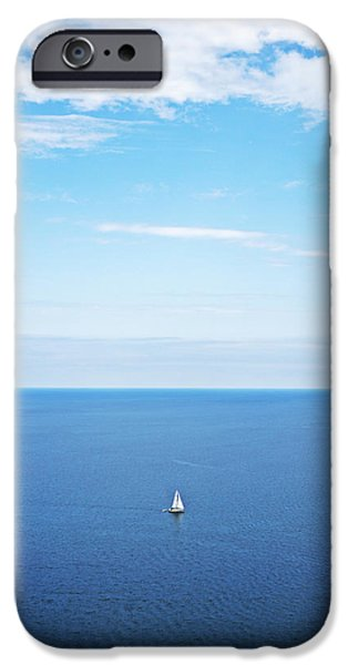 Sailboats iPhone Cases - Blue Sailboat iPhone Case by Ty Helbach