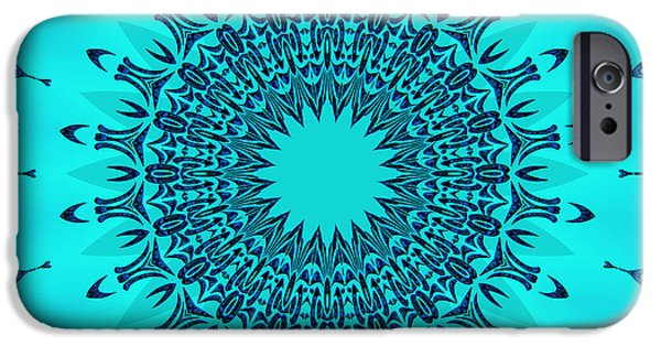 Modern Abstract iPhone Cases - Blue Symmetry iPhone Case by Lena Kouneva
