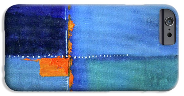 IPhone 6 Case featuring the painting Blue Window Abstract by Nancy Merkle