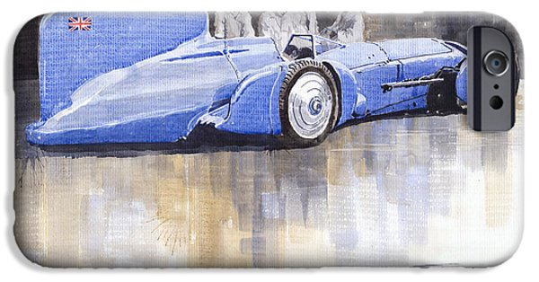 Racecar Paintings iPhone Cases - Bluebird world land speed record car 1931 iPhone Case by Yuriy  Shevchuk