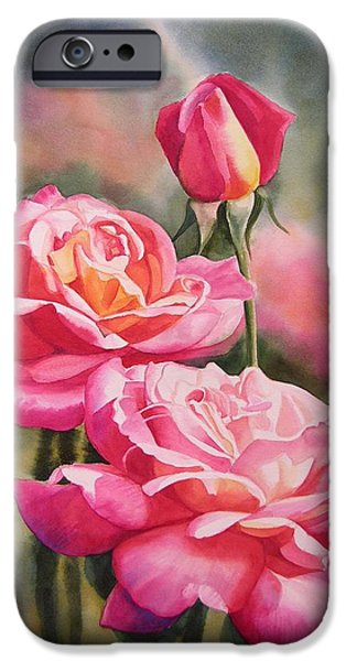 Red Rose iPhone 6 Case - Blushing Roses With Bud by Sharon Freeman