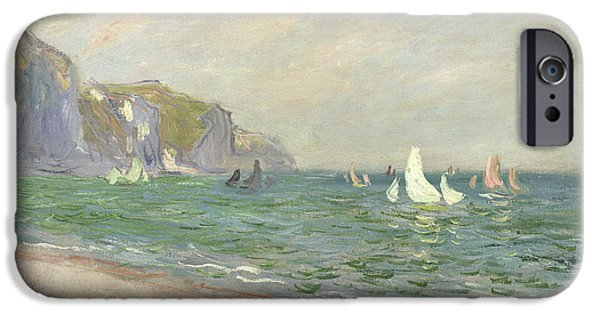 Boat Paintings iPhone Cases - Boats below the Cliffs at Pourville iPhone Case by Claude Monet
