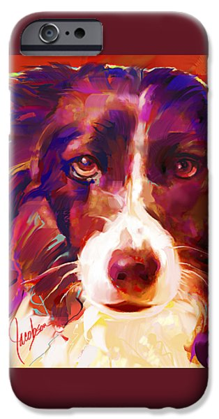 Dogs iPhone Cases - Border Collie Tall iPhone Case by Jackie Jacobson