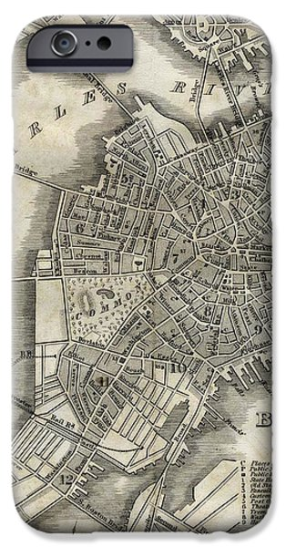 City. Boston Drawings iPhone Cases - Boston Map of 1842 iPhone Case by George Pedro