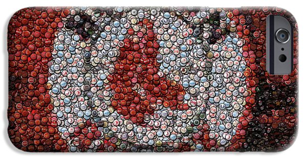 Red Sox Mixed Media iPhone Cases - Boston Red Sox Bottle Cap Mosaic iPhone Case by Paul Van Scott