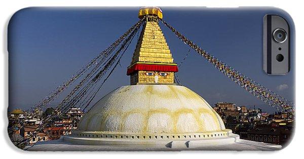 Tibetan Buddhism iPhone Cases - Boudhanath Stupa iPhone Case by Ivan Slosar