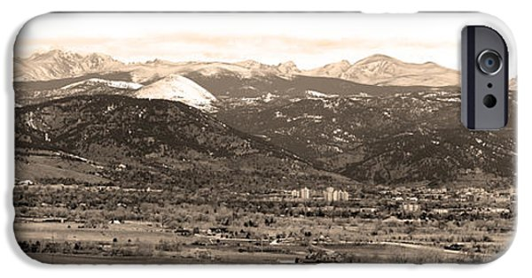 Boulder Colorado Sepia Panorama Poster Print IPhone 6 Case