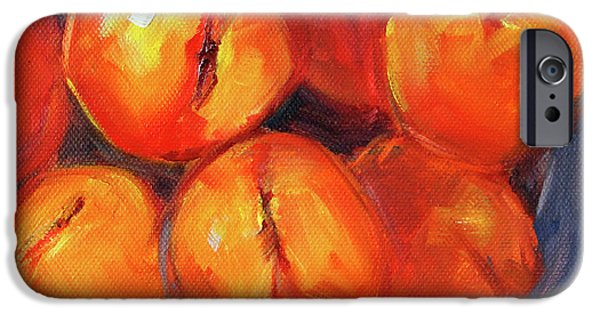 IPhone 6 Case featuring the painting Bowl Of Peaches Still Life by Nancy Merkle