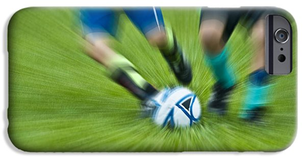 Fast Ball iPhone Cases - Boys Soccer iPhone Case by John Greim