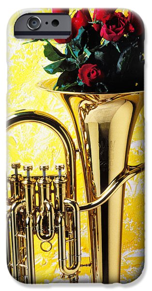 Red Rose iPhone 6 Case - Brass Tuba With Red Roses by Garry Gay