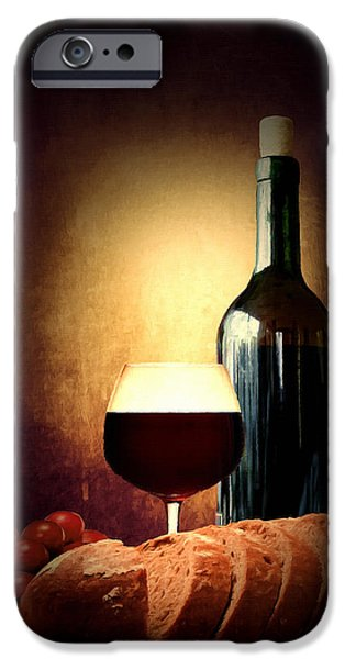 Recently Sold -  - Wine Bottles iPhone Cases - Bread and wine iPhone Case by Lourry Legarde